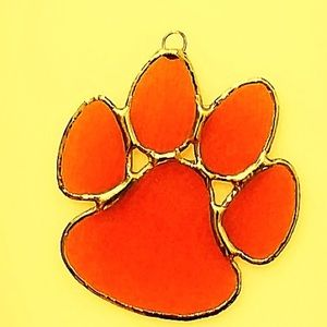 Stained glass Clemson Paw Ornament Opaque Orange
